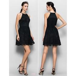 Short/Mini Lace Bridesmaid Dress - Black A-line Jewel