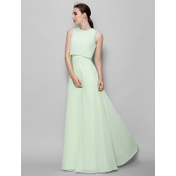 Floor-length Chiffon Bridesmaid Dress - Sage A-line Jewel