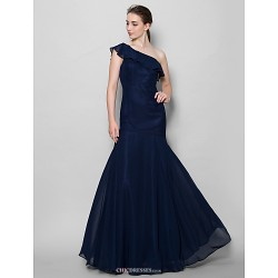 Floor-length Chiffon Bridesmaid Dress - Dark Navy Fit & Flare One Shoulder