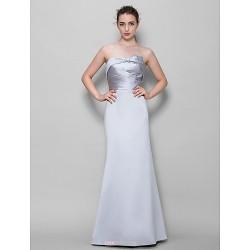 Floor Length Satin Bridesmaid Dress Silver Trumpet Mermaid Strapless