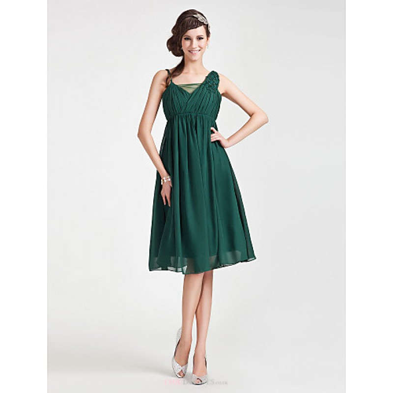 4d251a8aafd Knee-length Chiffon   Tulle Bridesmaid Dress - Dark Green Plus Sizes    Petite A