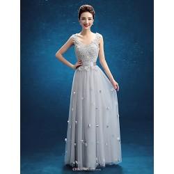 Floor Length Lace Bridesmaid Dress Silver Sheath Column V Neck