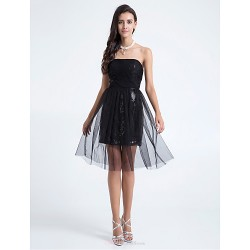 Knee Length Tulle Bridesmaid Dress Black Plus Sizes Petite A Line Sheath Column Strapless
