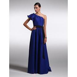 Floor-length Chiffon / Satin Bridesmaid Dress - Royal Blue Plus Sizes / Petite Sheath/Column One Shoulder