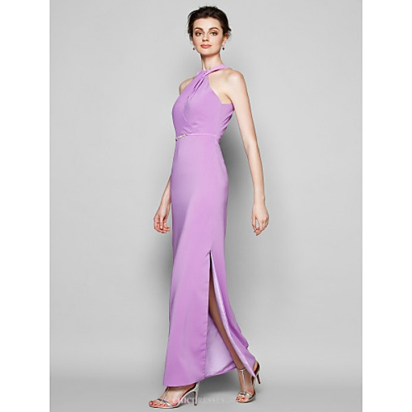Ankle-length Satin Chiffon Bridesmaid Dress - Lilac Plus Sizes / Petite Sheath/Column Halter Bridesmaid Dresses