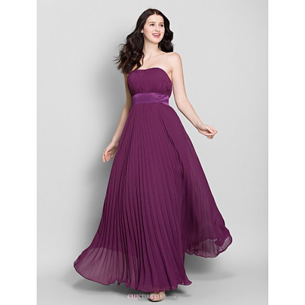 Ankle-length Chiffon Bridesmaid Dress - Grape A-line Strapless Bridesmaid Dresses