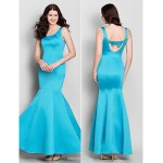 Ankle-length Satin Bridesmaid Dress - Pool Trumpet/Mermaid Scoop Bridesmaid Dresses