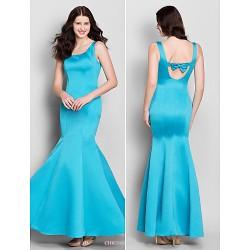 Ankle Length Satin Bridesmaid Dress Pool Trumpet Mermaid Scoop