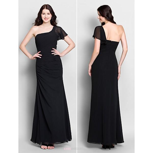 Ankle-length Chiffon Bridesmaid Dress - Black Trumpet/Mermaid One Shoulder Bridesmaid Dresses