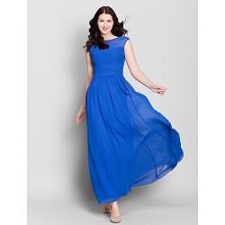 Ankle Length Chiffon Bridesmaid Dress Royal Blue A Line Bateau