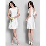 Short/Mini Jersey Bridesmaid Dress - Ivory Sheath/Column Cowl Bridesmaid Dresses