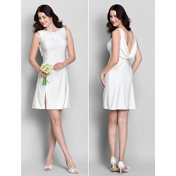 Short/Mini Jersey Bridesmaid Dress - Ivory Sheath/Column Cowl