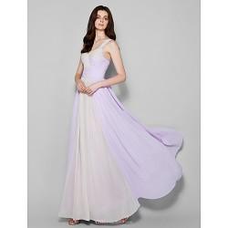 Floor-length Chiffon Bridesmaid Dress - Lavender Plus Sizes / Petite Sheath/Column Straps