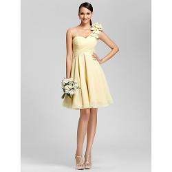 Knee Length Chiffon Bridesmaid Dress Daffodil Plus Sizes Petite A Line Princess One Shoulder Sweetheart