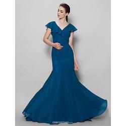 Sweep Brush Train Chiffon Bridesmaid Dress Ink Blue Fit & Flare One Shoulder