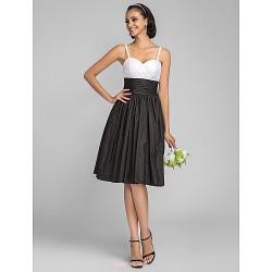 Knee-length Taffeta Bridesmaid Dress - Multi-color Plus Sizes / Petite A-line / Princess Spaghetti Straps