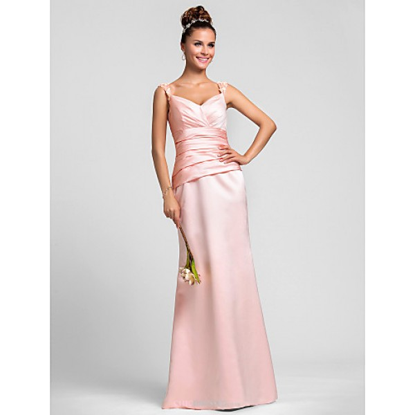 Wedding Party / Formal Evening / Military Ball Dress - Pearl Pink Plus Sizes / Petite Sheath/Column Straps Floor-length Satin Bridesmaid Dresses