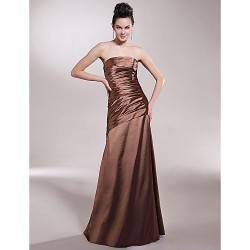 Floor Length Stretch Satin Bridesmaid Dress Brown Plus Sizes Petite A Line Princess Strapless