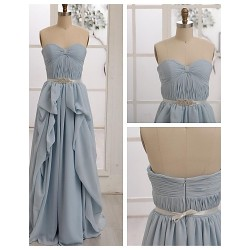 Floor-length Chiffon Bridesmaid Dress - Sky Blue A-line Sweetheart