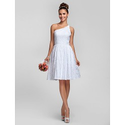 Knee Length Lace Bridesmaid Dress White Plus Sizes Petite A Line Princess One Shoulder