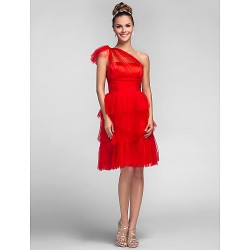 Knee Length Tulle Bridesmaid Dress Ruby Plus Sizes Petite A Line One Shoulder