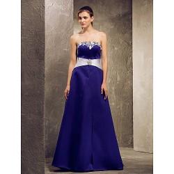 Floor Length Satin Bridesmaid Dress Regency Plus Sizes Petite A Line Strapless