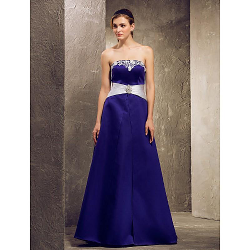 4c4b6853e37 Floor-length Satin Bridesmaid Dress - Regency Plus Sizes   Petite A-line  Strapless
