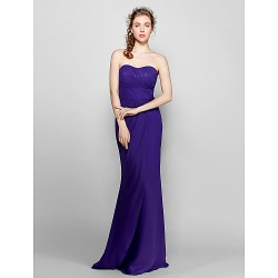 Floor Length Chiffon Bridesmaid Dress Regency Plus Sizes Petite Sheath Column Sweetheart