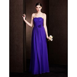 Floor Length Chiffon Bridesmaid Dress Regency Plus Sizes Petite Sheath Column Strapless
