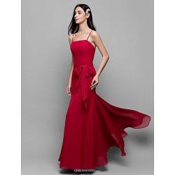 Ankle Length Chiffon Bridesmaid Dress Burgundy Sheath Column Spaghetti Straps