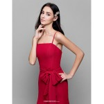 Ankle-length Chiffon Bridesmaid Dress - Burgundy Sheath/Column Spaghetti Straps Bridesmaid Dresses