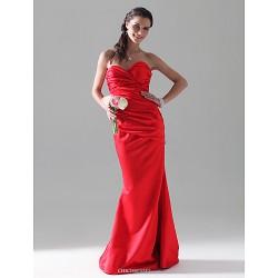 Trumpet Mermaid Sweetheart Floor Length Satin Bridesmaid Dress