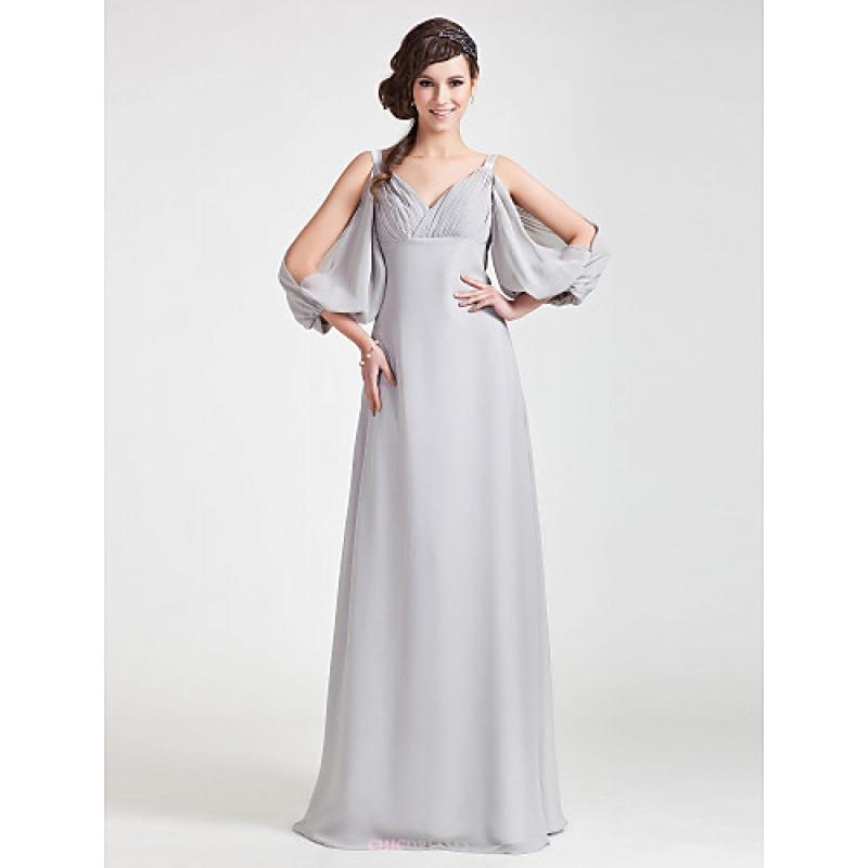 Floor Length Chiffon Bridesmaid Dress Silver Plus Sizes Petite A