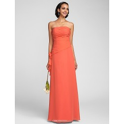 Floor-length Chiffon Bridesmaid Dress - Watermelon Plus Sizes / Petite Sheath/Column Strapless