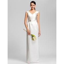 Floor-length Satin Bridesmaid Dress - Ivory Plus Sizes / Petite Sheath/Column V-neck