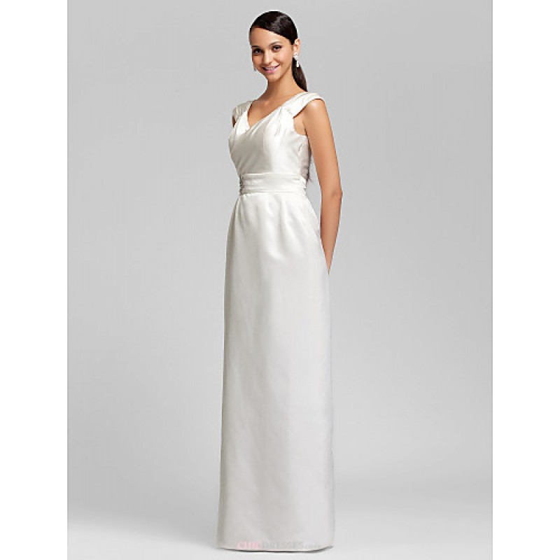 Floor length satin bridesmaid dress ivory plus sizes for Wedding dresses petite sizes