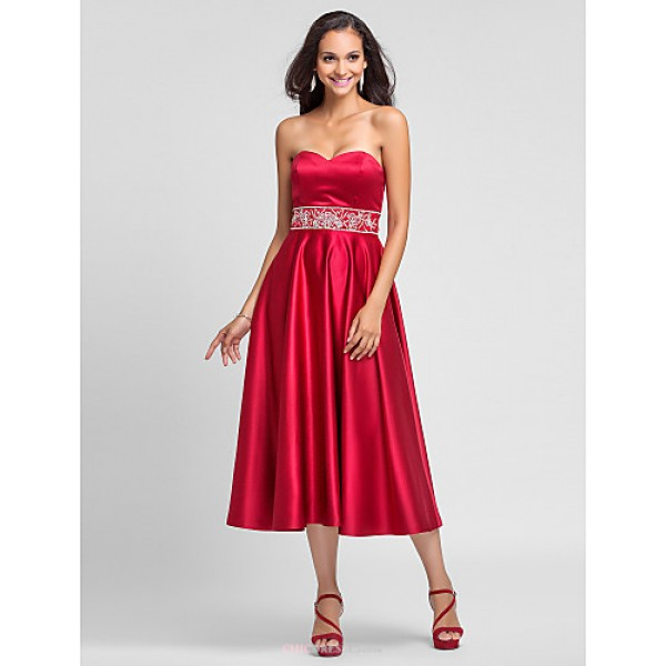 Tea-length Satin Bridesmaid Dress - Ruby Plus Sizes / Petite A-line / Princess Strapless / Sweetheart Bridesmaid Dresses