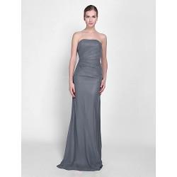 Floor-length Chiffon Bridesmaid Dress - Silver Petite Sheath/Column Strapless
