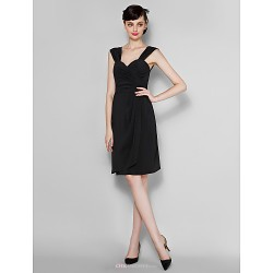 Knee Length Chiffon Bridesmaid Dress Black Plus Sizes Petite Sheath Column Straps