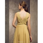 Tea-length Chiffon Bridesmaid Dress - Gold Plus Sizes / Petite Sheath/Column Jewel Bridesmaid Dresses
