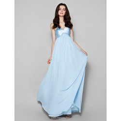 Floor Length Chiffon Satin Chiffon Bridesmaid Dress Sky Blue Plus Sizes Petite Sheath Column Sweetheart