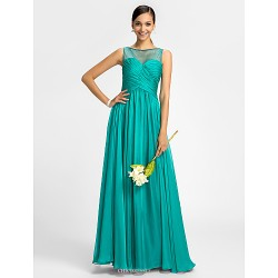 Bridesmaid Dress Floor Length Chiffon and Tulle Sheath Column Scoop Dress