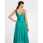 Bridesmaid Dress Floor Length Chiffon and Tulle Sheath Column Scoop Dress Bridesmaid Dresses