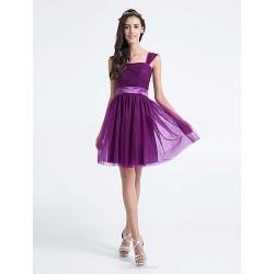 Knee Length Tulle Bridesmaid Dress Grape Plus Sizes Petite A Line Square