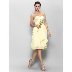 Knee Length Chiffon Bridesmaid Dress Daffodil A Line Sweetheart