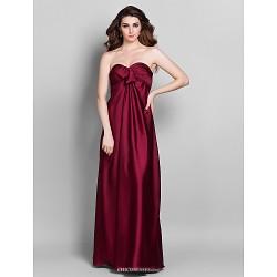 Floor-length Stretch Satin Bridesmaid Dress - Burgundy Plus Sizes / Petite Sheath/Column Sweetheart