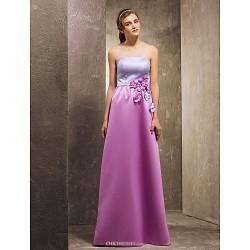 Floor-length Satin Bridesmaid Dress - Multi-color Apple / Hourglass / Inverted Triangle / Pear / Rectangle / Plus Sizes / Petite / Misses