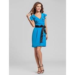 Short Mini Chiffon Bridesmaid Dress Ocean Blue Plus Sizes Petite Sheath Column V Neck