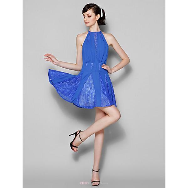 Short/Mini Chiffon / Lace Bridesmaid Dress - Royal Blue Plus Sizes / Petite A-line Jewel Bridesmaid Dresses