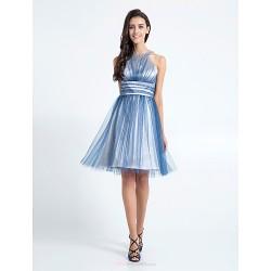 Knee Length Tulle Bridesmaid Dress Dark Navy Plus Sizes Petite A Line Jewel